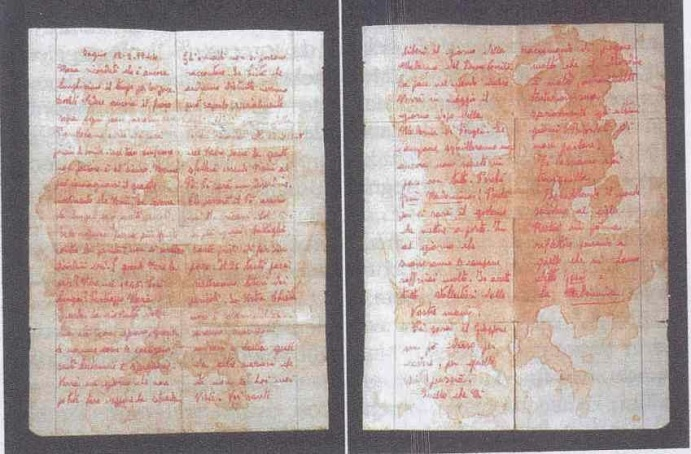 The blood stained paper Maria wrote with Jesus prophesy concerning the end of World War 2